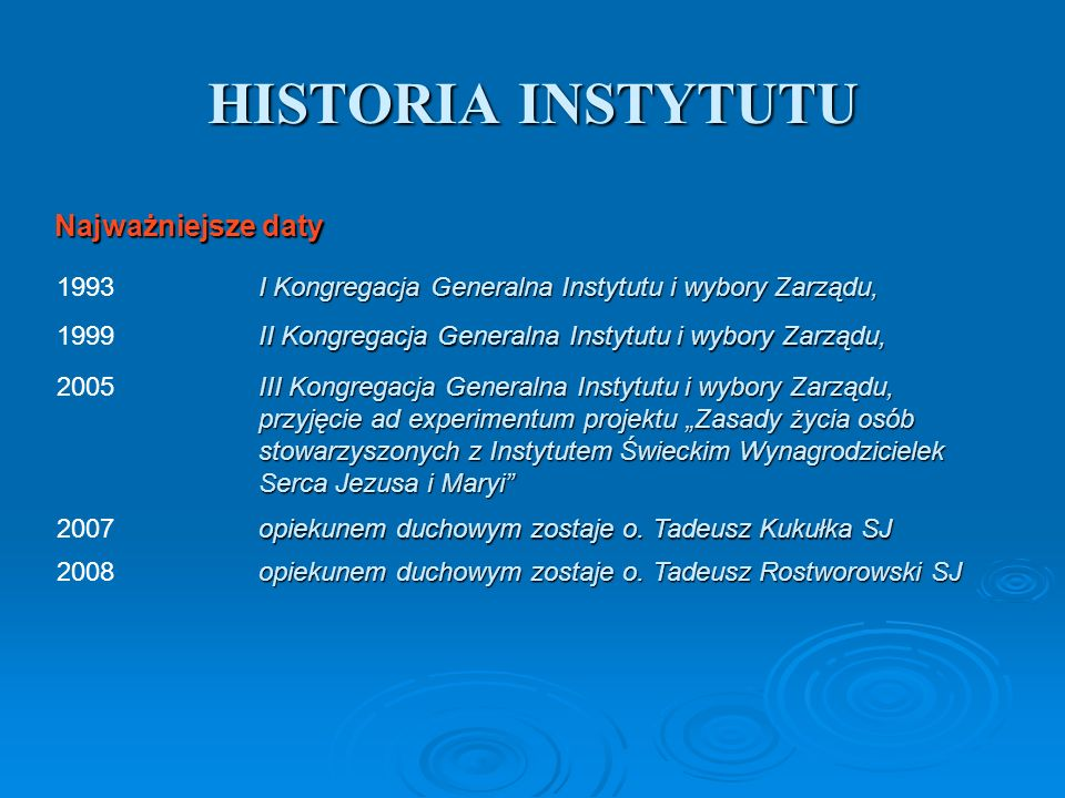 HISTORIA INSTYTUTU I Kongregacja Generalna Instytutu i wybory Zarządu, 1993 Najważniejsze daty II Kongregacja Generalna Instytutu i wybory Zarządu, 19