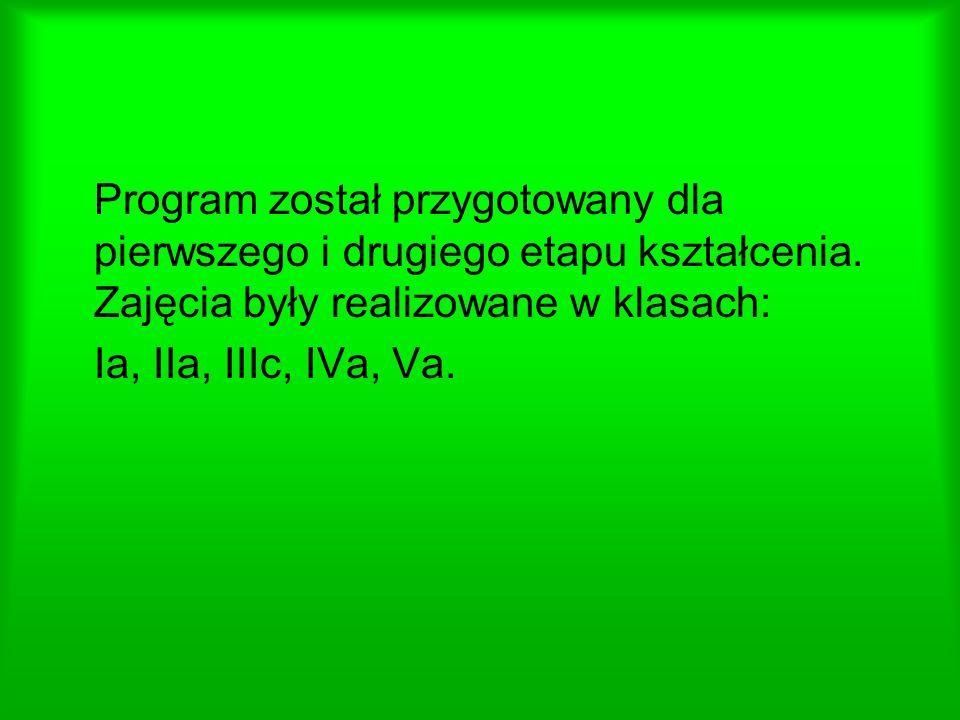 Program został przygotowany dla pierwszego i drugiego etapu kształcenia.