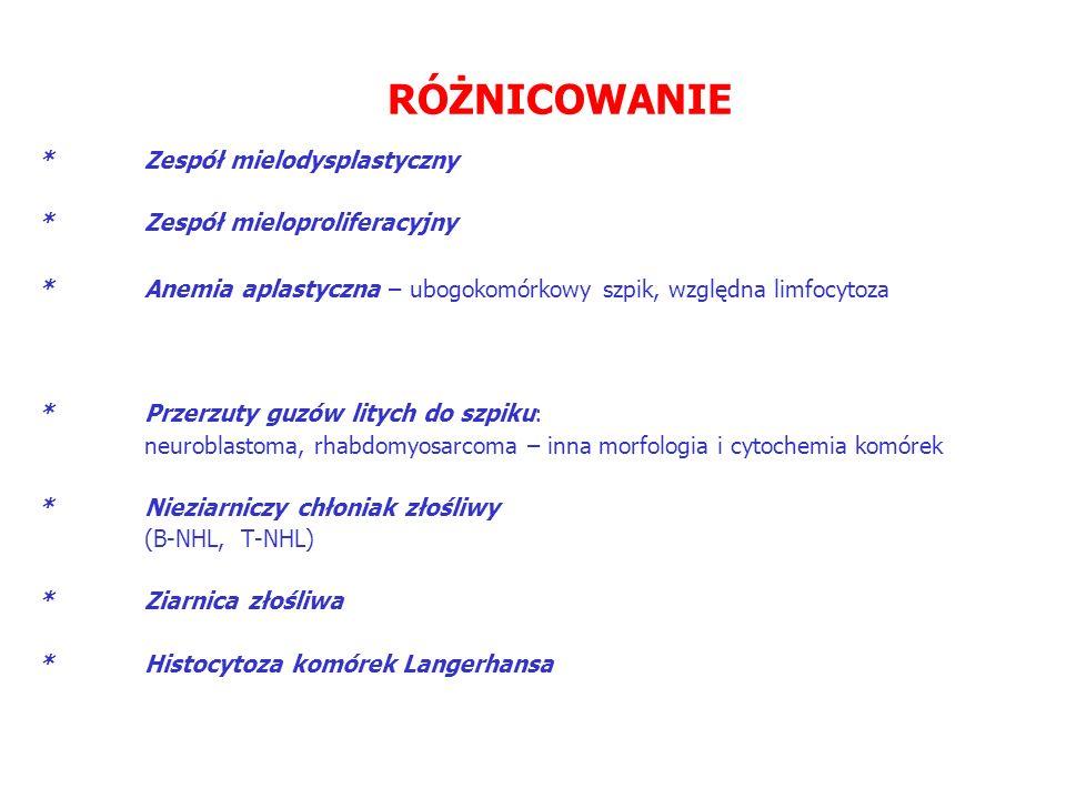 RÓŻNICOWANIE * Zespół mielodysplastyczny * Zespół mieloproliferacyjny * Anemia aplastyczna – ubogokomórkowy szpik, względna limfocytoza * Przerzuty guzów litych do szpiku: neuroblastoma, rhabdomyosarcoma – inna morfologia i cytochemia komórek * Nieziarniczy chłoniak złośliwy (B-NHL, T-NHL) * Ziarnica złośliwa * Histocytoza komórek Langerhansa