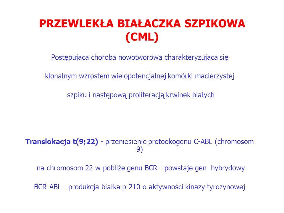 PRZEWLEKŁA BIAŁACZKA SZPIKOWA (CML) Postępująca choroba nowotworowa charakteryzująca się klonalnym wzrostem wielopotencjalnej komórki macierzystej szpiku i następową proliferacją krwinek białych Translokacja t(9;22) - przeniesienie protookogenu C-ABL (chromosom 9) na chromosom 22 w pobliże genu BCR - powstaje gen hybrydowy BCR-ABL - produkcja białka p-210 o aktywności kinazy tyrozynowej