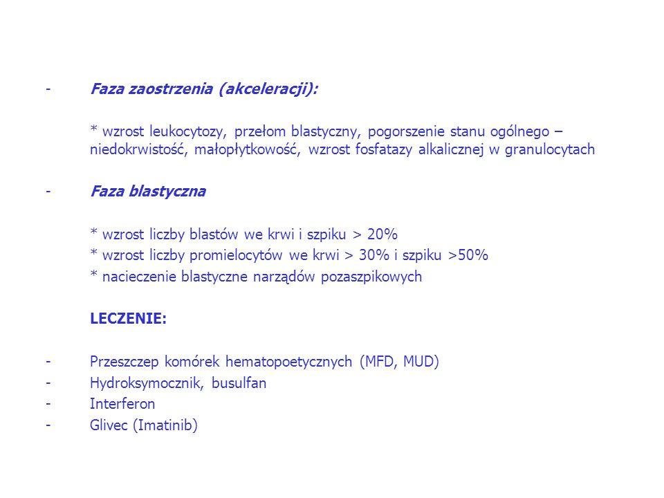 -Faza zaostrzenia (akceleracji): * wzrost leukocytozy, przełom blastyczny, pogorszenie stanu ogólnego – niedokrwistość, małopłytkowość, wzrost fosfatazy alkalicznej w granulocytach -Faza blastyczna * wzrost liczby blastów we krwi i szpiku > 20% * wzrost liczby promielocytów we krwi > 30% i szpiku >50% * nacieczenie blastyczne narządów pozaszpikowych LECZENIE: -Przeszczep komórek hematopoetycznych (MFD, MUD) -Hydroksymocznik, busulfan -Interferon -Glivec (Imatinib)