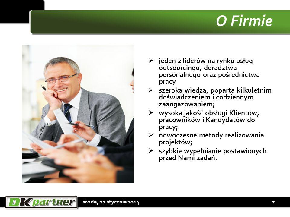 O Firmie jeden z liderów na rynku usług outsourcingu, doradztwa personalnego oraz pośrednictwa pracy szeroka wiedza, poparta kilkuletnim doświadczenie