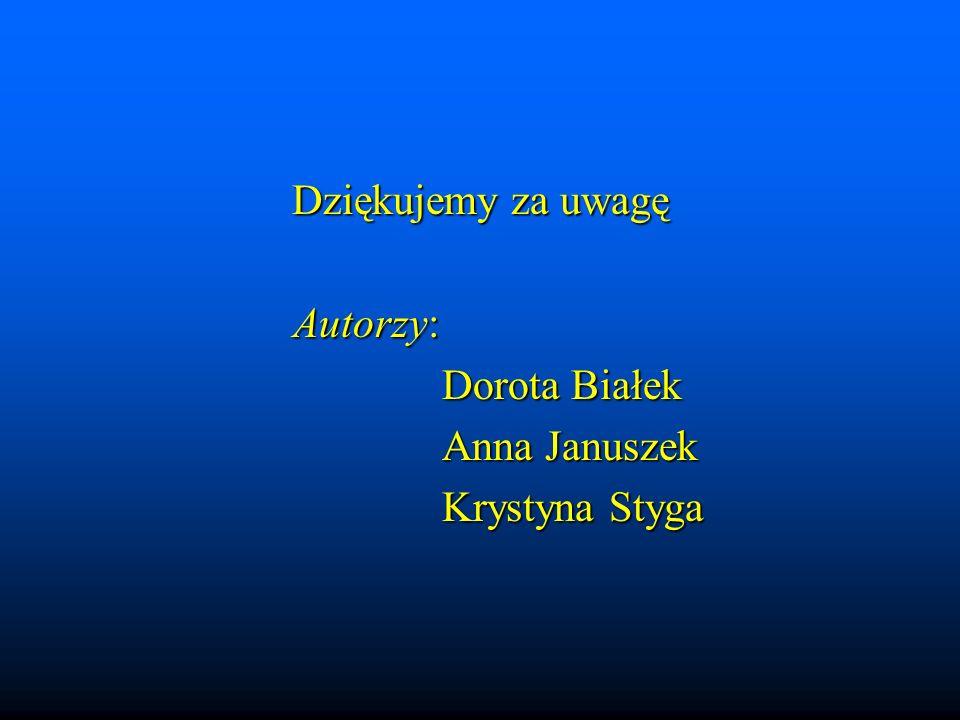 Dziękujemy za uwagę Autorzy: Autorzy: Dorota Białek Anna Januszek Krystyna Styga