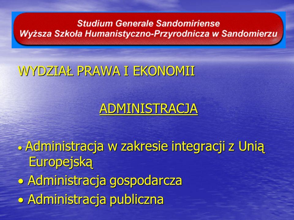 WYDZIAŁ PRAWA I EKONOMII ADMINISTRACJA ADMINISTRACJA Administracja w zakresie integracji z Unią Europejską Administracja w zakresie integracji z Unią