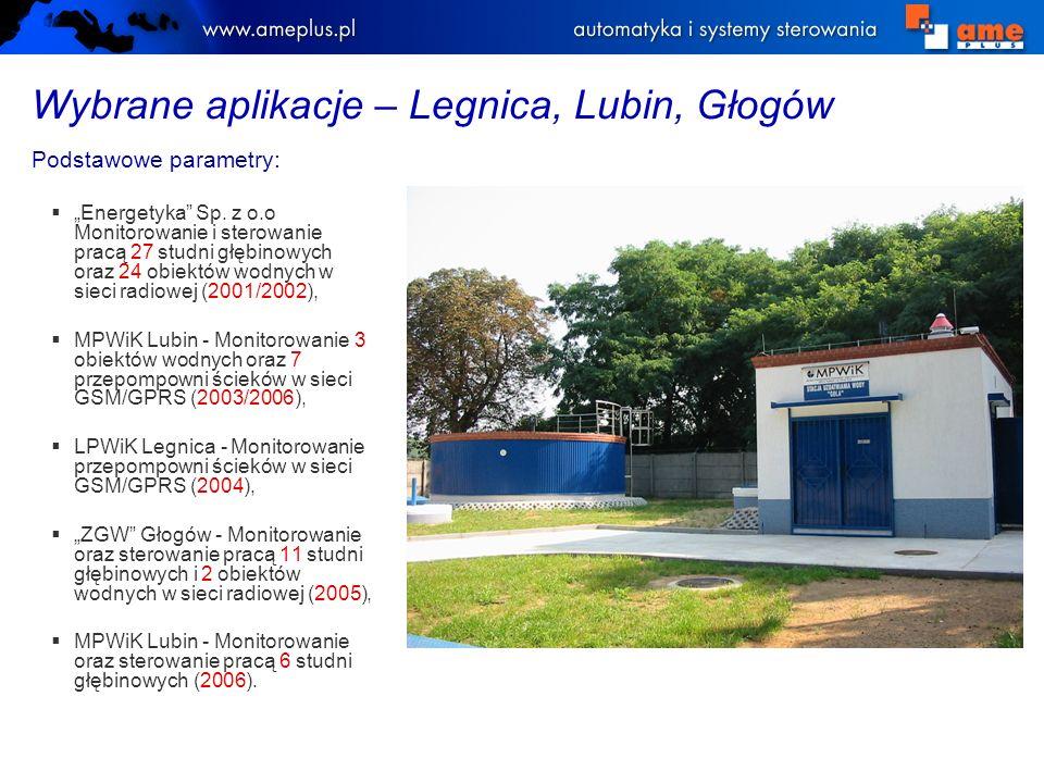 Wybrane aplikacje – Legnica, Lubin, Głogów Podstawowe parametry: Energetyka Sp. z o.o Monitorowanie i sterowanie pracą 27 studni głębinowych oraz 24 o