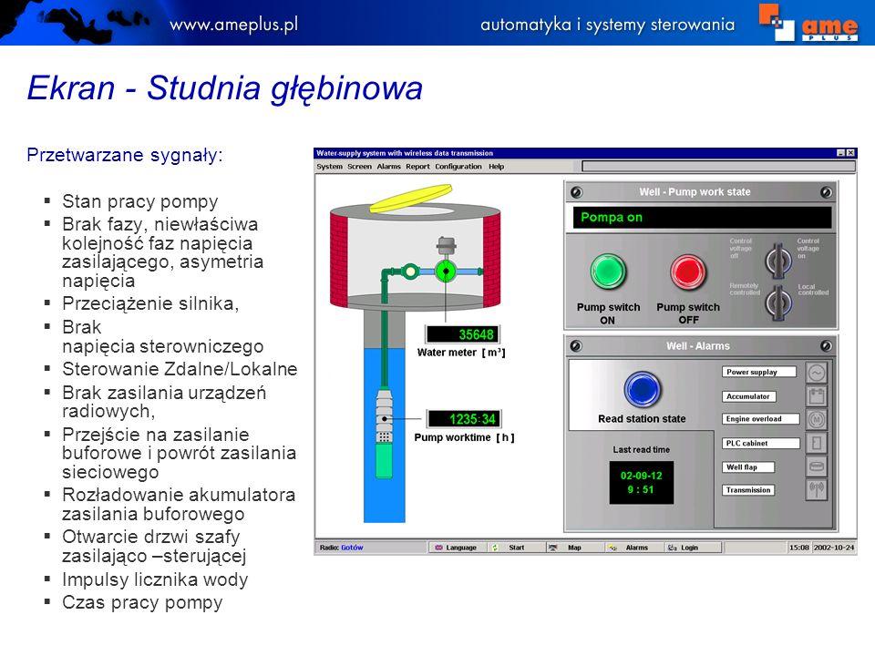 Ekran - zabezpieczenia CU3 - GRUNDFOS Podstawowe parametry elektryczne monitorowane przez automat zabezpieczający CU3: Napięcie, Prąd, Przesunięcie fazowe, Napięcie średnie, Prąd średni, Asymetria, Częstotliwość, Temperatura silnika, Stan izolacji, Zużycie energii Alarmy związane z pracą silnika.
