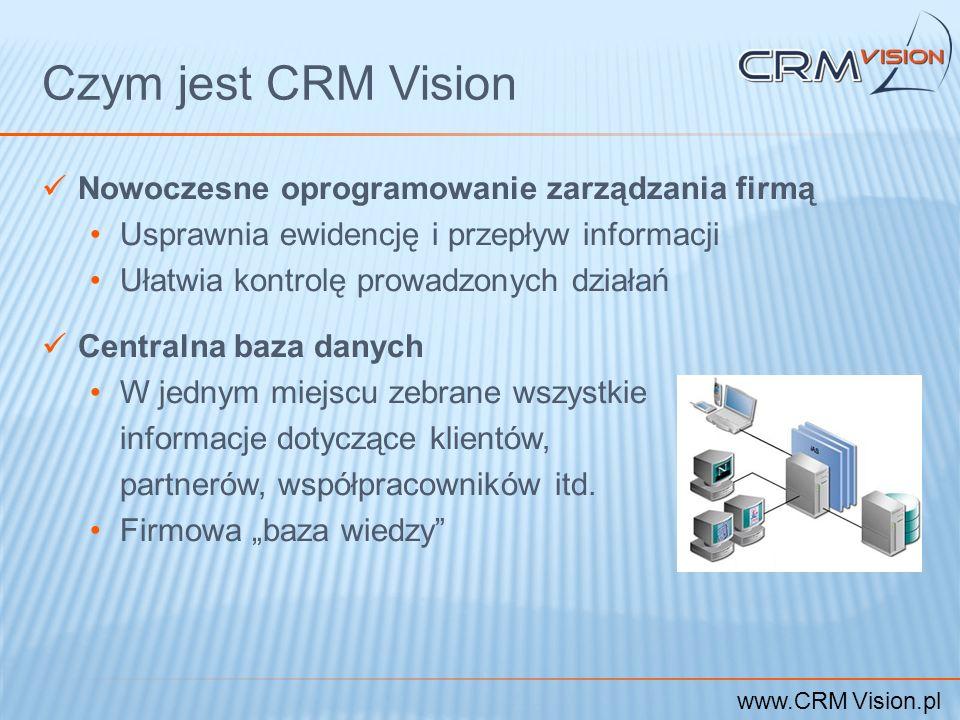 www.CRM Vision.pl Czym jest CRM Vision Nowoczesne oprogramowanie zarządzania firmą Usprawnia ewidencję i przepływ informacji Ułatwia kontrolę prowadzo