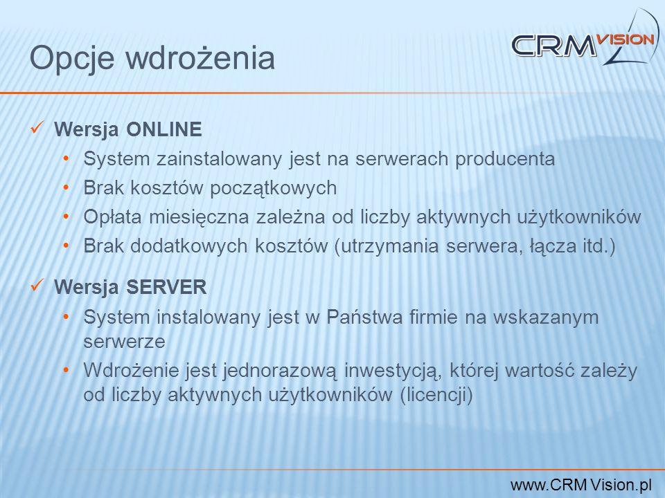 www.CRM Vision.pl Opcje wdrożenia Wersja ONLINE System zainstalowany jest na serwerach producenta Brak kosztów początkowych Opłata miesięczna zależna