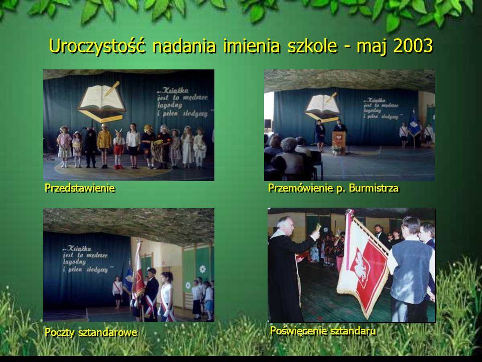 Uroczystość nadania imienia szkole - maj 2003 Przedstawienie Przemówienie p.