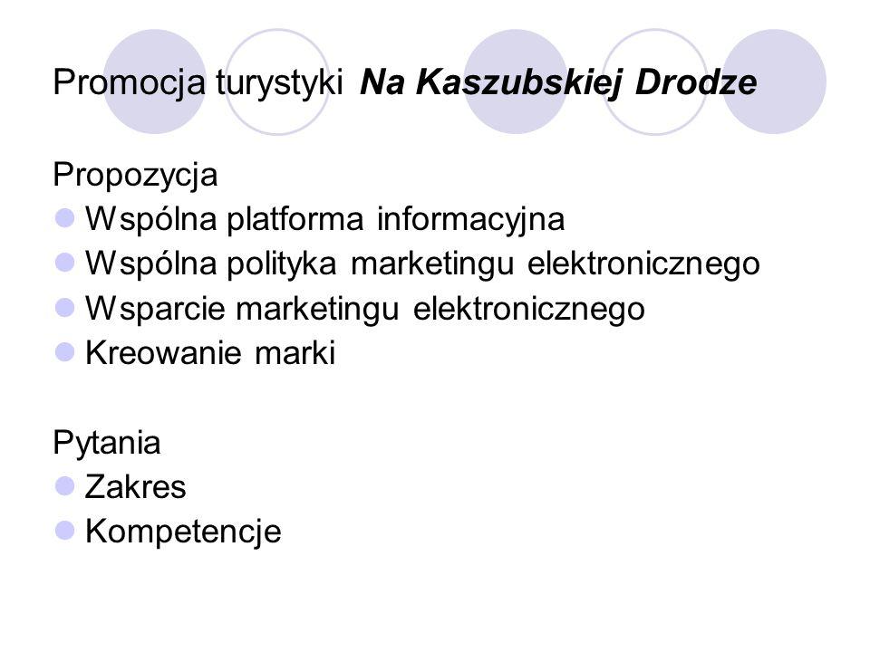 Promocja turystyki Na Kaszubskiej Drodze Propozycja Wspólna platforma informacyjna Wspólna polityka marketingu elektronicznego Wsparcie marketingu ele