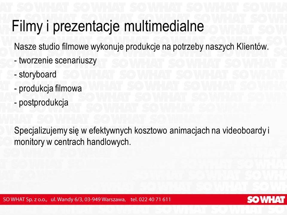 Filmy i prezentacje multimedialne Nasze studio filmowe wykonuje produkcje na potrzeby naszych Klientów.