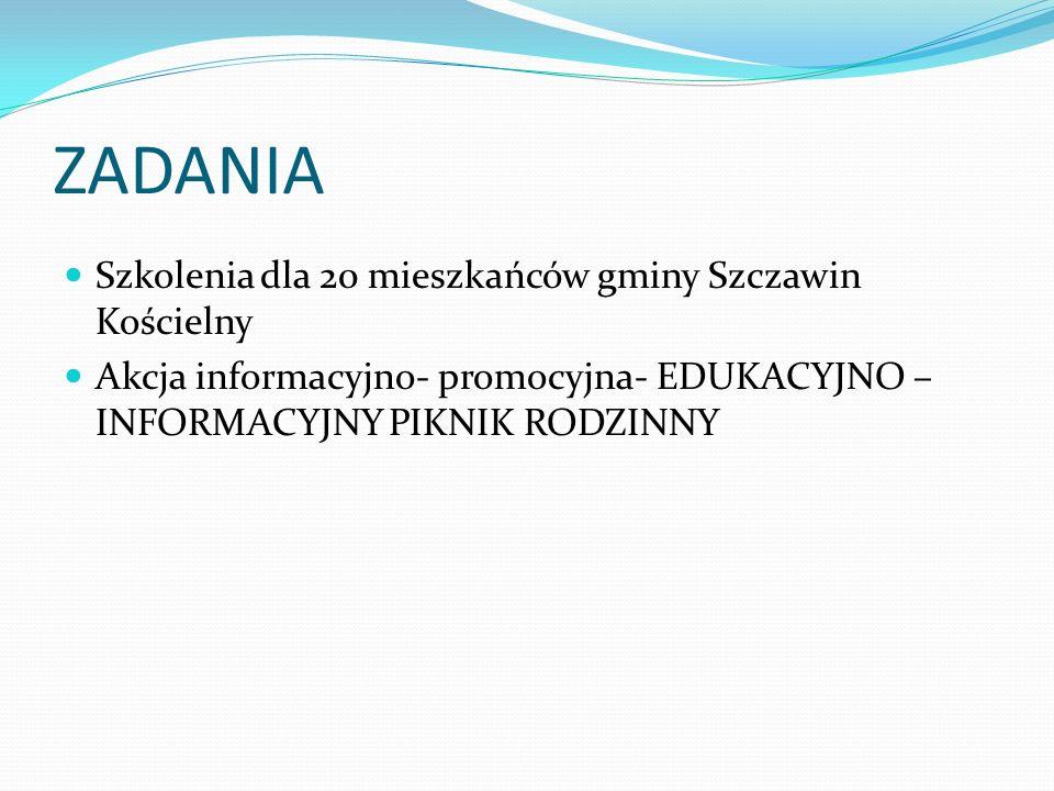 ZADANIA Szkolenia dla 20 mieszkańców gminy Szczawin Kościelny Akcja informacyjno- promocyjna- EDUKACYJNO – INFORMACYJNY PIKNIK RODZINNY
