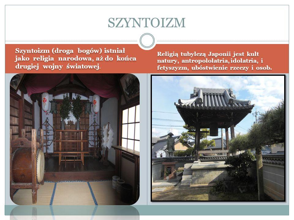 Szyntoizm (droga bogów) istniał jako religia narodowa, aż do końca drugiej wojny światowej. Religią tubylczą Japonii jest kult natury, antropololatria