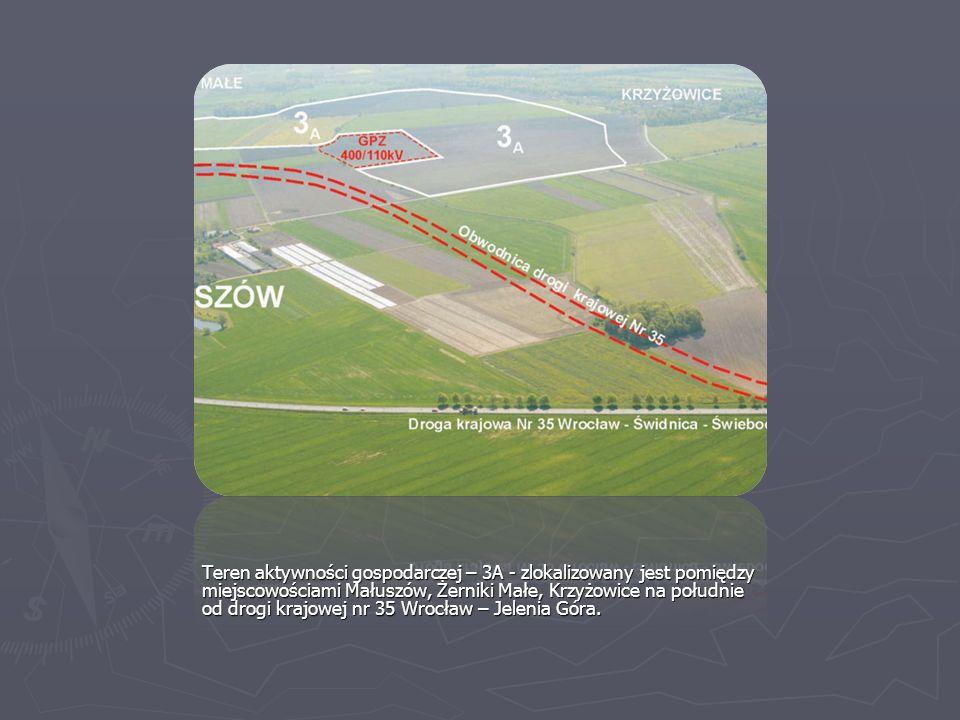 Teren aktywności gospodarczej – 3A - zlokalizowany jest pomiędzy miejscowościami Małuszów, Żerniki Małe, Krzyżowice na południe od drogi krajowej nr 3