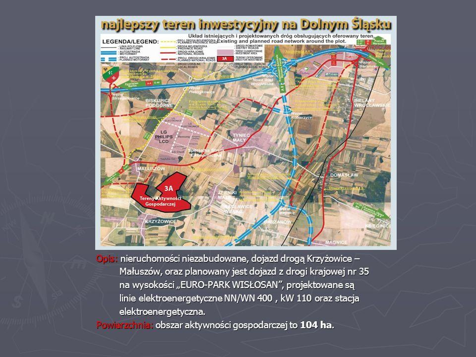 Opis: nieruchomości niezabudowane, dojazd drogą Krzyżowice – Małuszów, oraz planowany jest dojazd z drogi krajowej nr 35 Małuszów, oraz planowany jest dojazd z drogi krajowej nr 35 na wysokości EURO-PARK WISŁOSAN, projektowane są na wysokości EURO-PARK WISŁOSAN, projektowane są linie elektroenergetyczne NN/WN 400, kW 110 oraz stacja linie elektroenergetyczne NN/WN 400, kW 110 oraz stacja elektroenergetyczna.