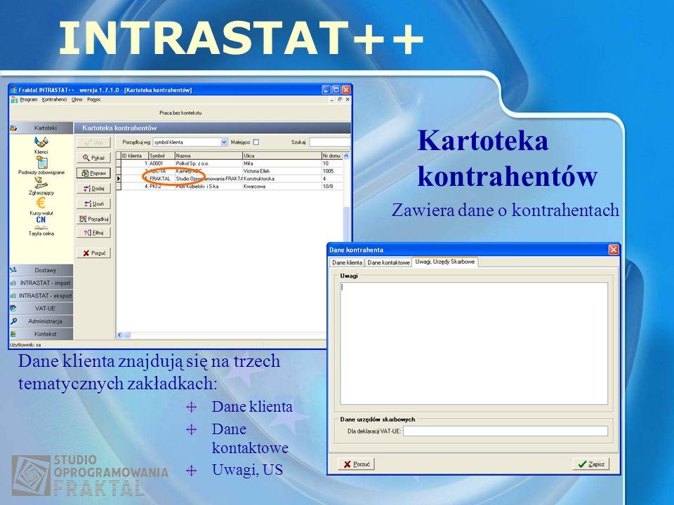 Kartoteka kontrahentów INTRASTAT++ Dane klienta znajdują się na trzech tematycznych zakładkach: Dane klienta Dane kontaktowe Uwagi, US Zawiera dane o