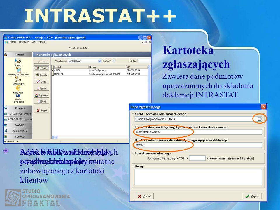 Kartoteka zgłaszających INTRASTAT++ Zawiera dane podmiotów upoważnionych do składania deklaracji INTRASTAT. Szybkie wprowadzanie danych przez wybranie