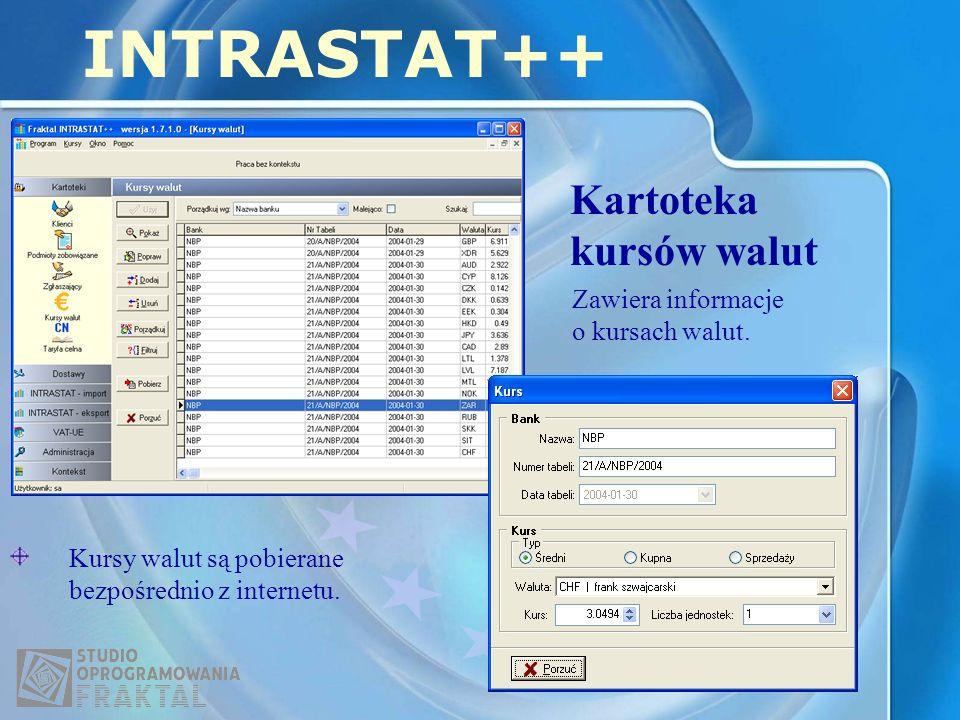 Kartoteka kursów walut INTRASTAT++ Zawiera informacje o kursach walut. Kursy walut są pobierane bezpośrednio z internetu.