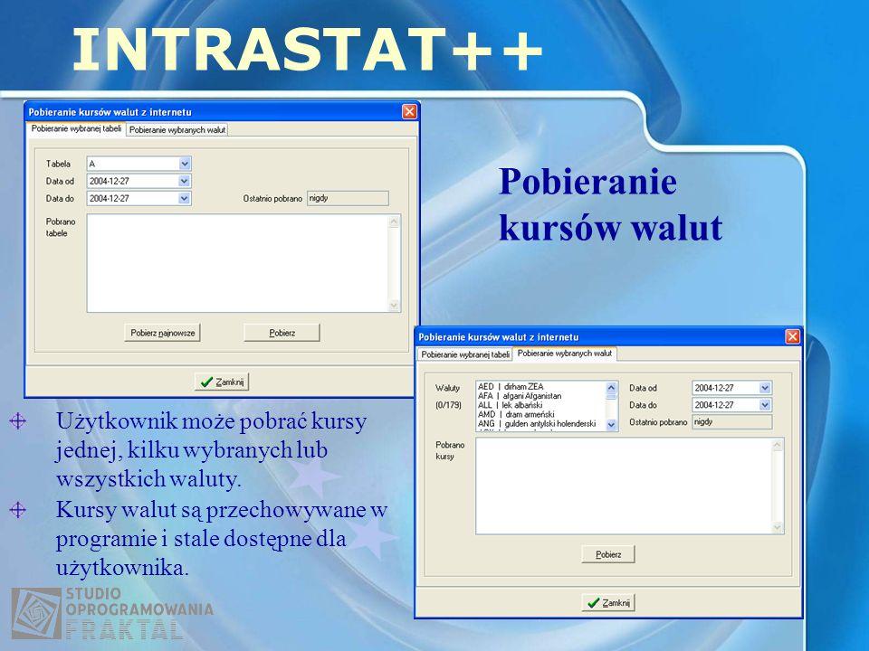 Pobieranie kursów walut INTRASTAT++ Użytkownik może pobrać kursy jednej, kilku wybranych lub wszystkich waluty. Kursy walut są przechowywane w program