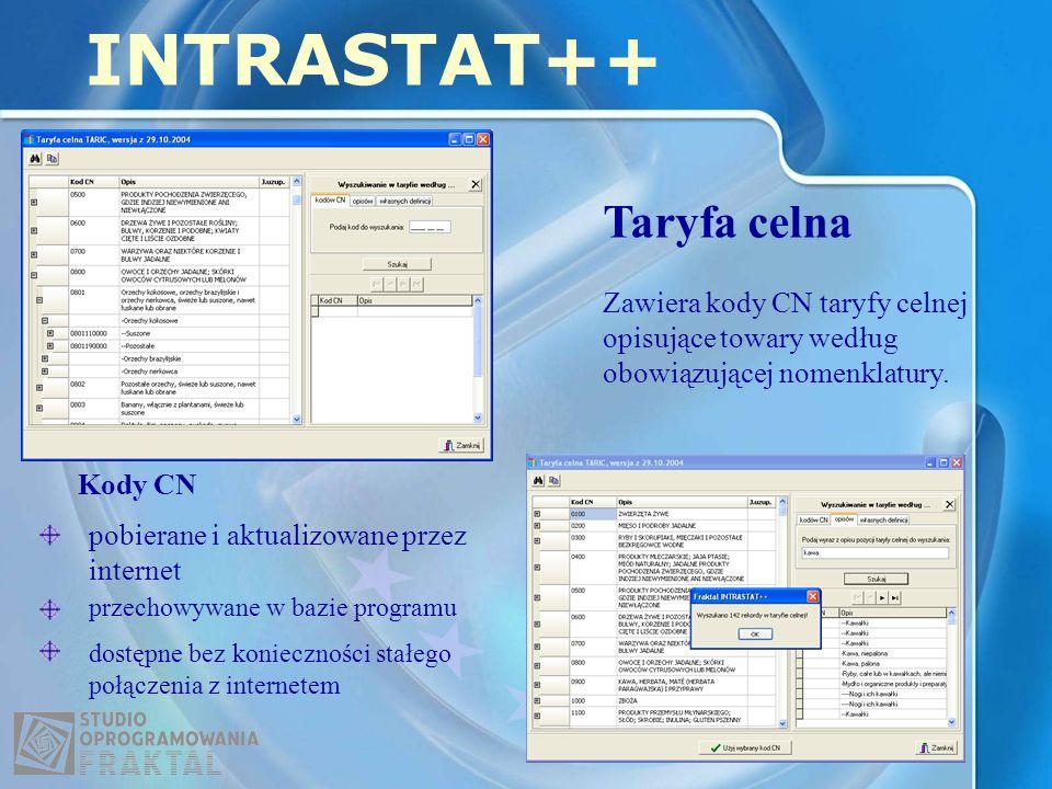 Taryfa celna INTRASTAT++ Zawiera kody CN taryfy celnej opisujące towary według obowiązującej nomenklatury. pobierane i aktualizowane przez internet Ko
