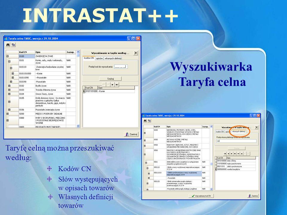 INTRASTAT++ Wyszukiwarka Taryfa celna Taryfę celną można przeszukiwać według: Kodów CN Słów występujących w opisach towarów Własnych definicji towarów