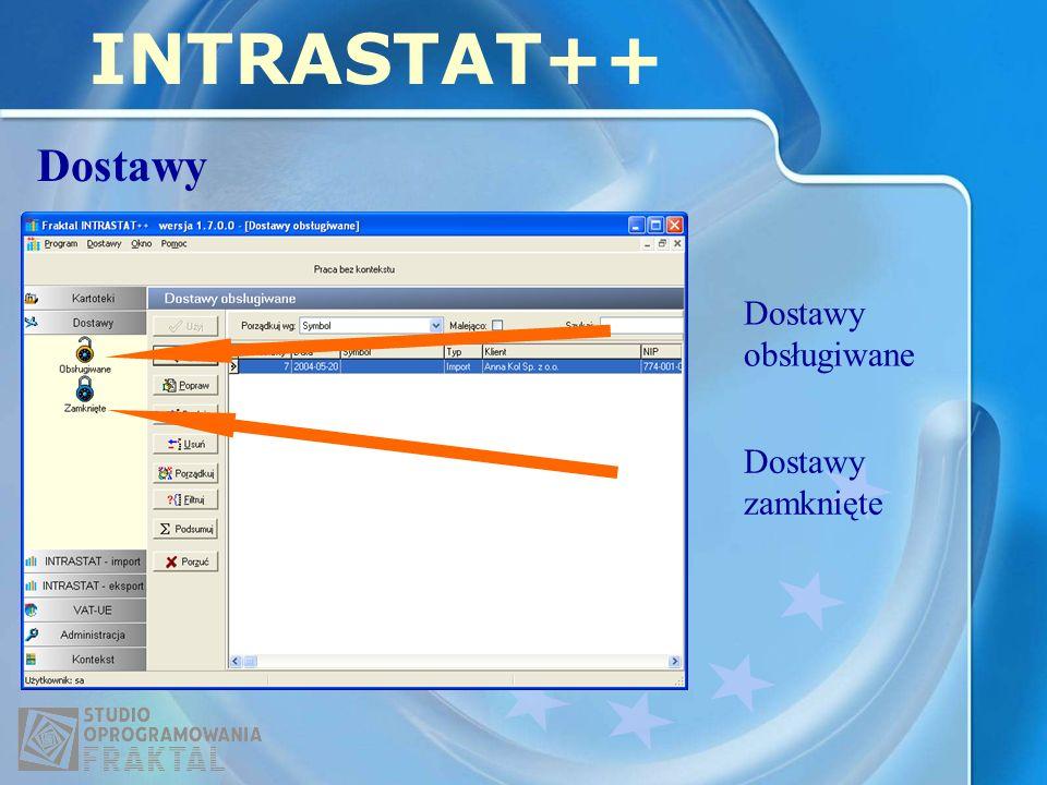 INTRASTAT++ Dostawy Dostawy zamknięte Dostawy obsługiwane
