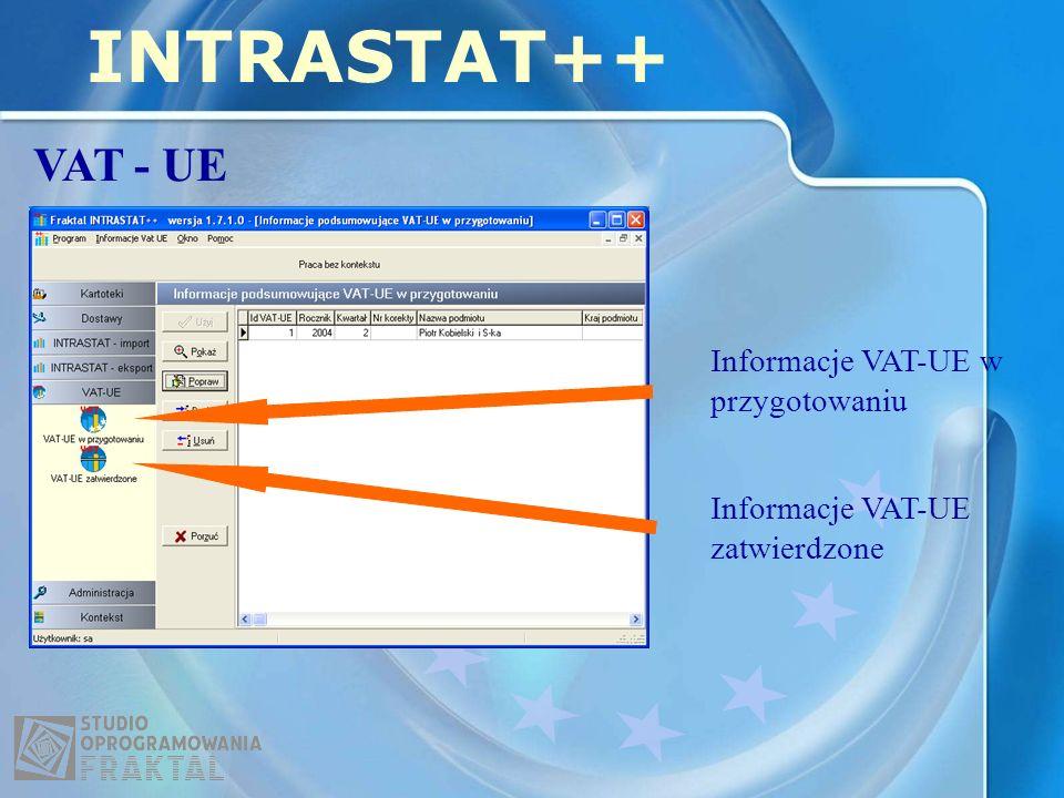 INTRASTAT++ VAT - UE Informacje VAT-UE w przygotowaniu Informacje VAT-UE zatwierdzone