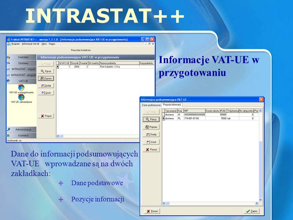 INTRASTAT++ Informacje VAT-UE w przygotowaniu Dane do informacji podsumowujących VAT-UE wprowadzane są na dwóch zakładkach: Dane podstawowe Pozycje informacji