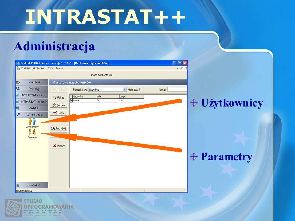 INTRASTAT++ Administracja Parametry Użytkownicy