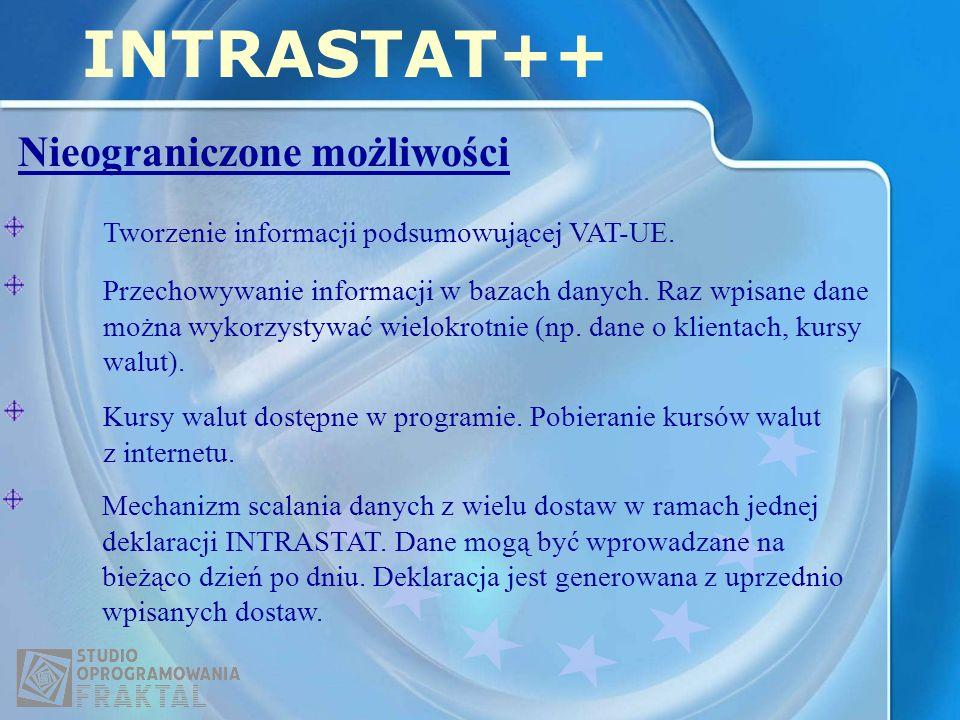 Nieograniczone możliwości INTRASTAT++ Przechowywanie informacji w bazach danych.