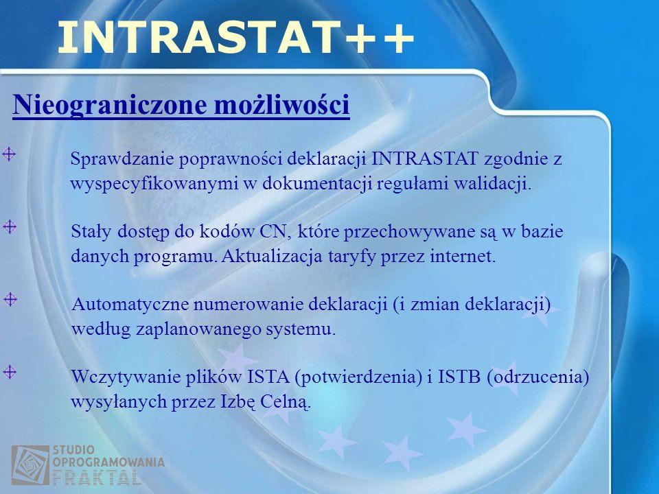 Nieograniczone możliwości INTRASTAT++ Sprawdzanie poprawności deklaracji INTRASTAT zgodnie z wyspecyfikowanymi w dokumentacji regułami walidacji.