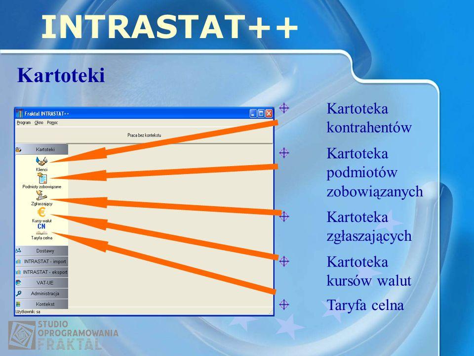 Kartoteki INTRASTAT++ Kartoteka podmiotów zobowiązanych Kartoteka kontrahentów Kartoteka zgłaszających Kartoteka kursów walut Taryfa celna