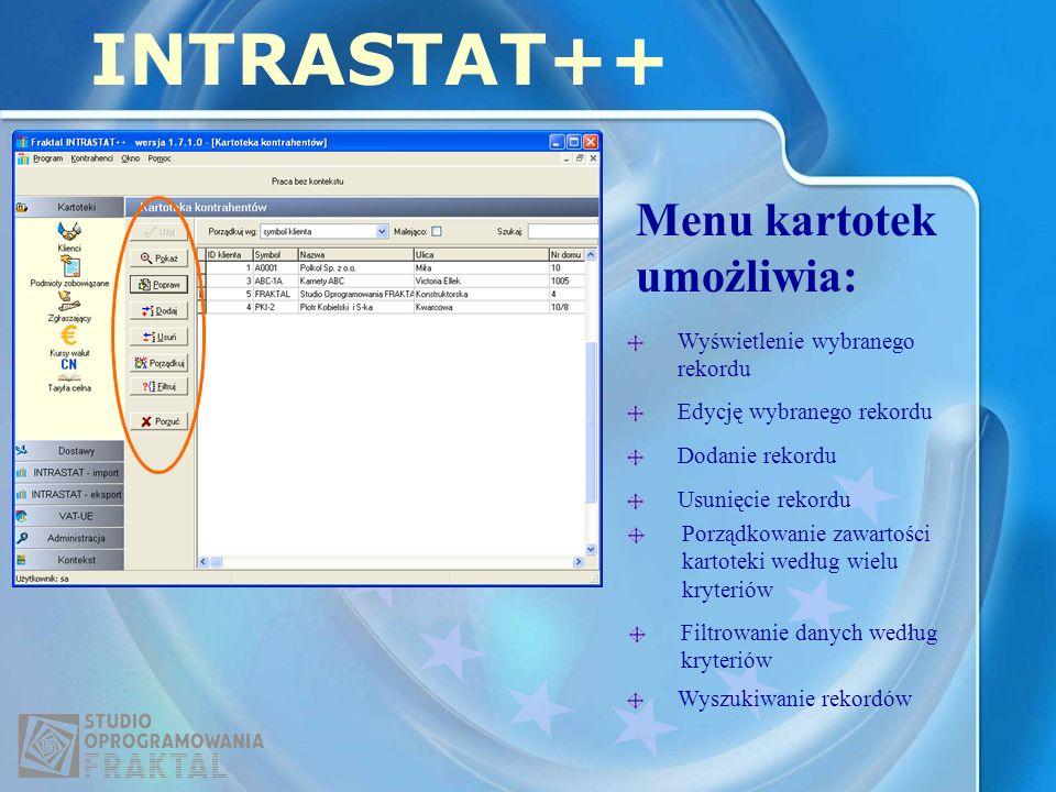Menu kartotek umożliwia: INTRASTAT++ Wyświetlenie wybranego rekordu Edycję wybranego rekordu Dodanie rekordu Usunięcie rekordu Porządkowanie zawartości kartoteki według wielu kryteriów Filtrowanie danych według kryteriów Wyszukiwanie rekordów