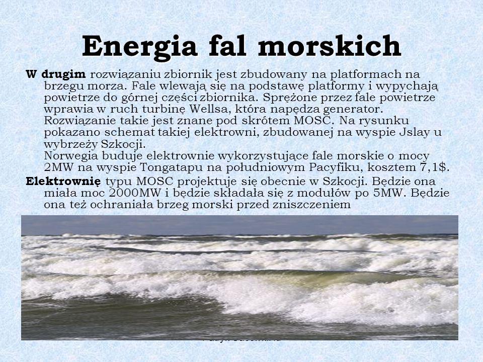 Patryk Gacek kl. Id Energia fal morskich W drugim rozwiązaniu zbiornik jest zbudowany na platformach na brzegu morza. Fale wlewają się na podstawę pla