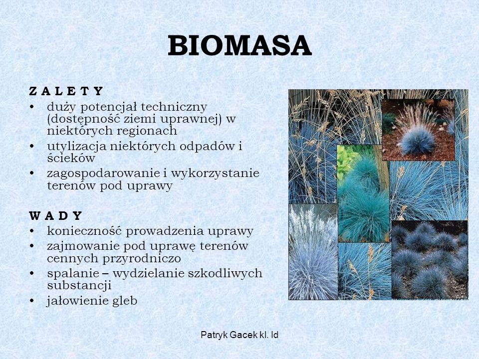Patryk Gacek kl. Id BIOMASA Z A L E T Y duży potencjał techniczny (dostępność ziemi uprawnej) w niektórych regionach utylizacja niektórych odpadów i ś
