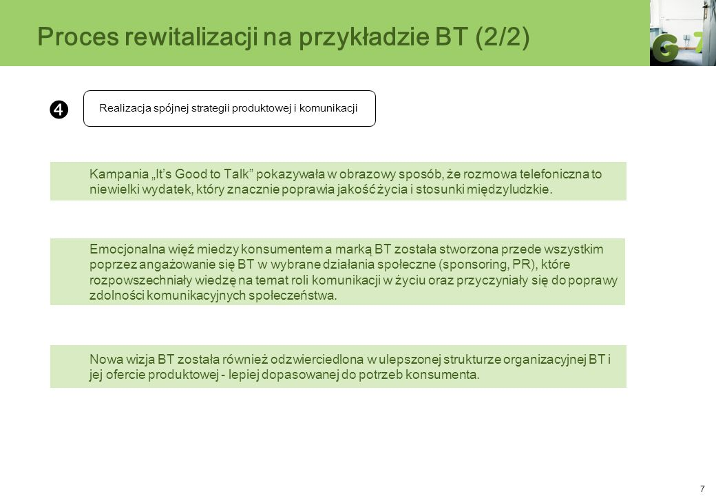 7 Proces rewitalizacji na przykładzie BT (2/2) Realizacja spójnej strategii produktowej i komunikacji Emocjonalna więź miedzy konsumentem a marką BT z