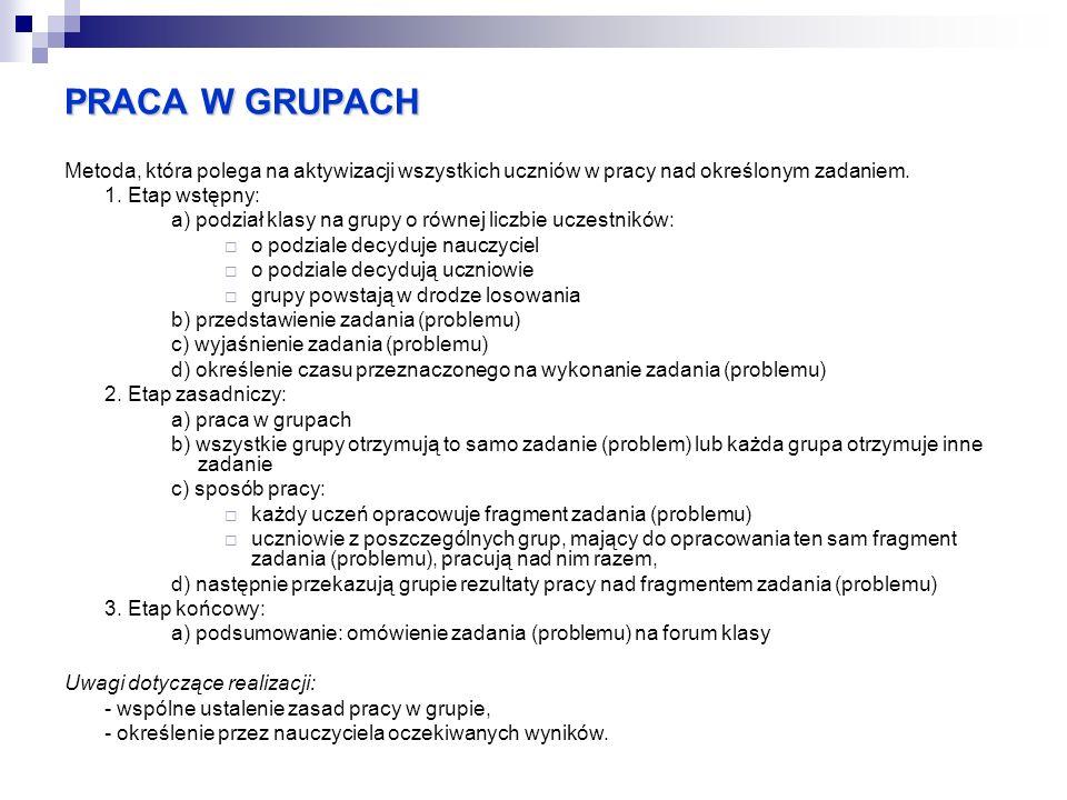 PRACA W GRUPACH Metoda, która polega na aktywizacji wszystkich uczniów w pracy nad określonym zadaniem. 1. Etap wstępny: a) podział klasy na grupy o r