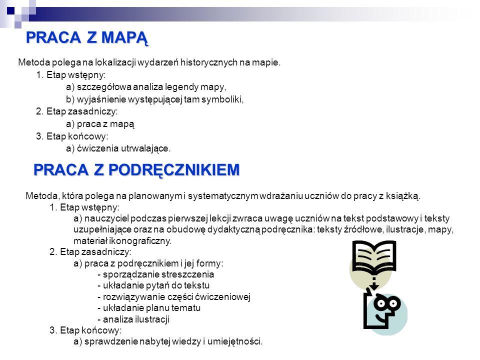 PRACA Z MAPĄ Metoda polega na lokalizacji wydarzeń historycznych na mapie. 1. Etap wstępny: a) szczegółowa analiza legendy mapy, b) wyjaśnienie występ