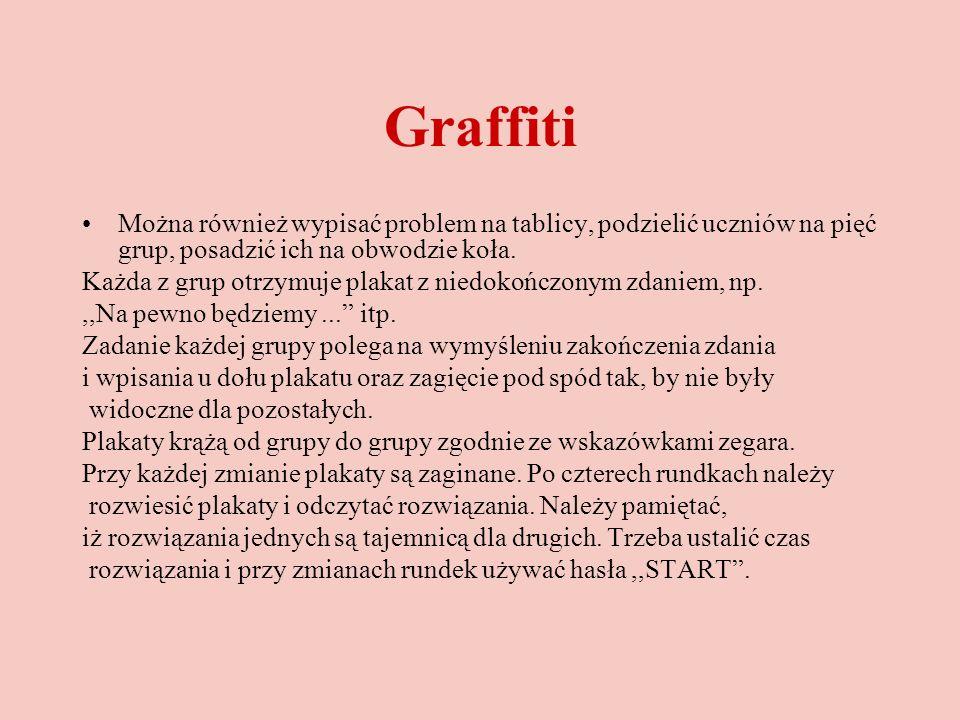 Graffiti Można również wypisać problem na tablicy, podzielić uczniów na pięć grup, posadzić ich na obwodzie koła. Każda z grup otrzymuje plakat z nied
