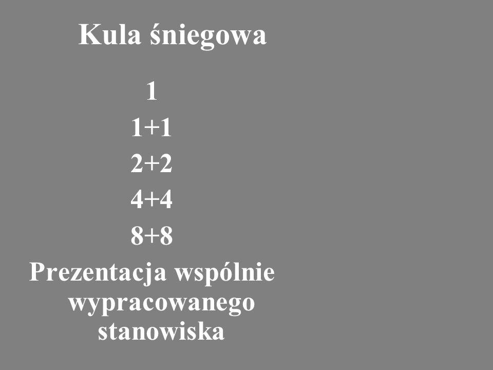 Kula śniegowa 1 1+1 2+2 4+4 8+8 Prezentacja wspólnie wypracowanego stanowiska
