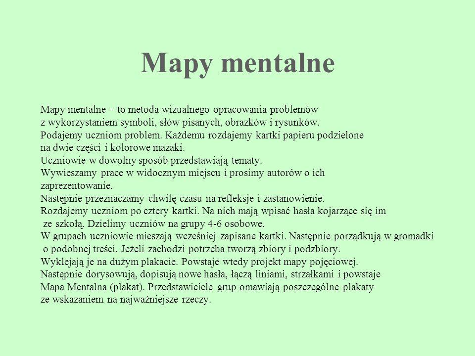 Mapy mentalne Mapy mentalne – to metoda wizualnego opracowania problemów z wykorzystaniem symboli, słów pisanych, obrazków i rysunków. Podajemy ucznio