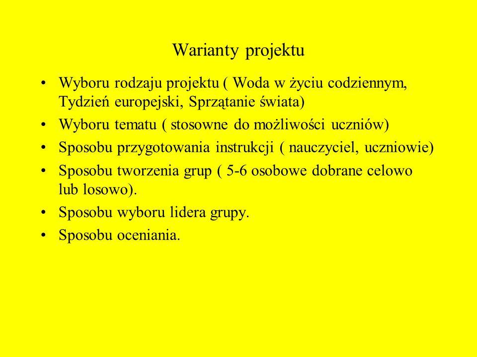 Warianty projektu Wyboru rodzaju projektu ( Woda w życiu codziennym, Tydzień europejski, Sprzątanie świata) Wyboru tematu ( stosowne do możliwości ucz