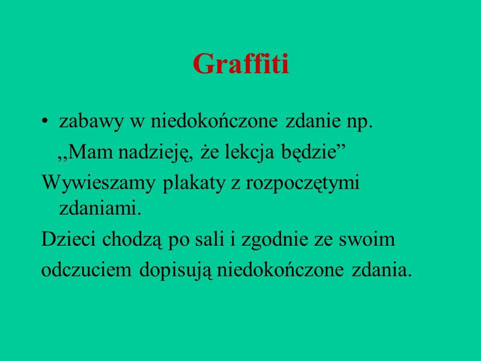 Graffiti zabawy w niedokończone zdanie np.,,Mam nadzieję, że lekcja będzie Wywieszamy plakaty z rozpoczętymi zdaniami. Dzieci chodzą po sali i zgodnie