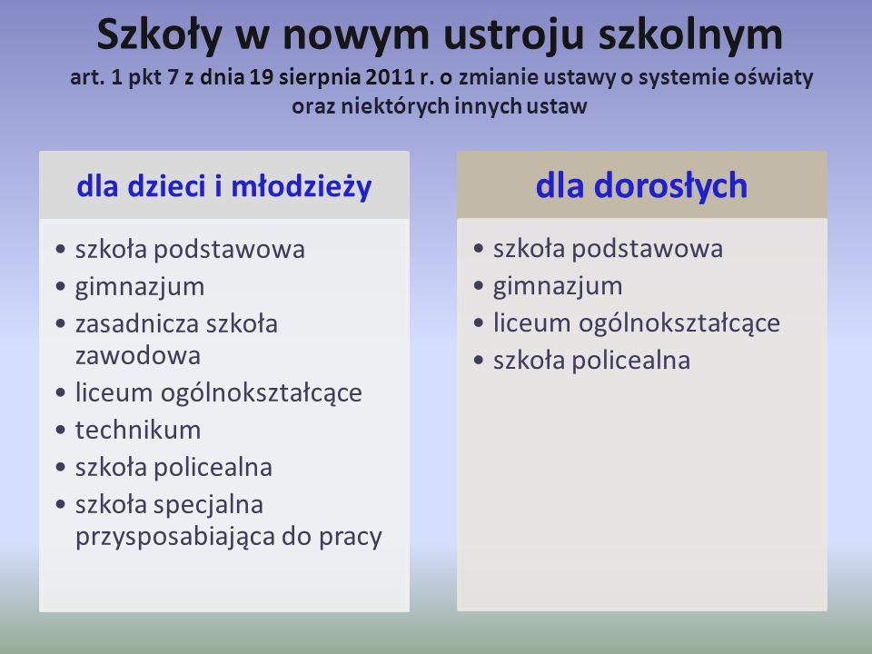 Szkoły w nowym ustroju szkolnym art. 1 pkt 7 z dnia 19 sierpnia 2011 r. o zmianie ustawy o systemie oświaty oraz niektórych innych ustaw dla dzieci i