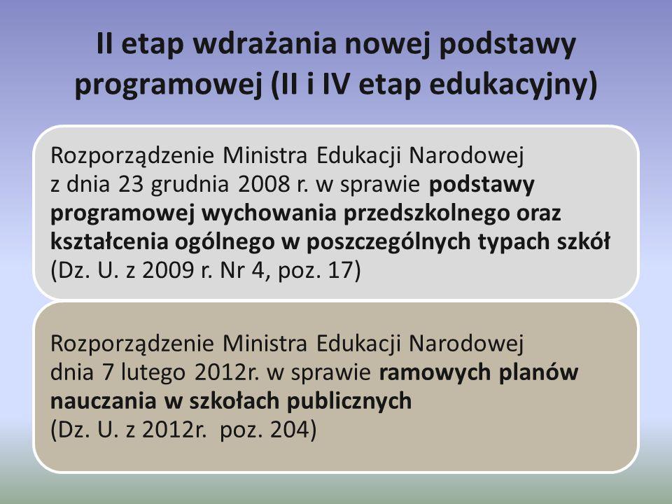 II etap wdrażania nowej podstawy programowej (II i IV etap edukacyjny) Rozporządzenie Ministra Edukacji Narodowej z dnia 23 grudnia 2008 r. w sprawie