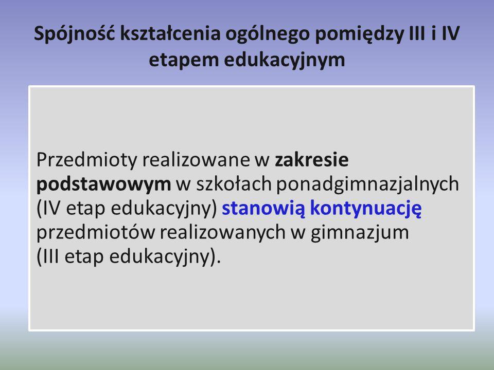 Spójność kształcenia ogólnego pomiędzy III i IV etapem edukacyjnym Przedmioty realizowane w zakresie podstawowym w szkołach ponadgimnazjalnych (IV eta