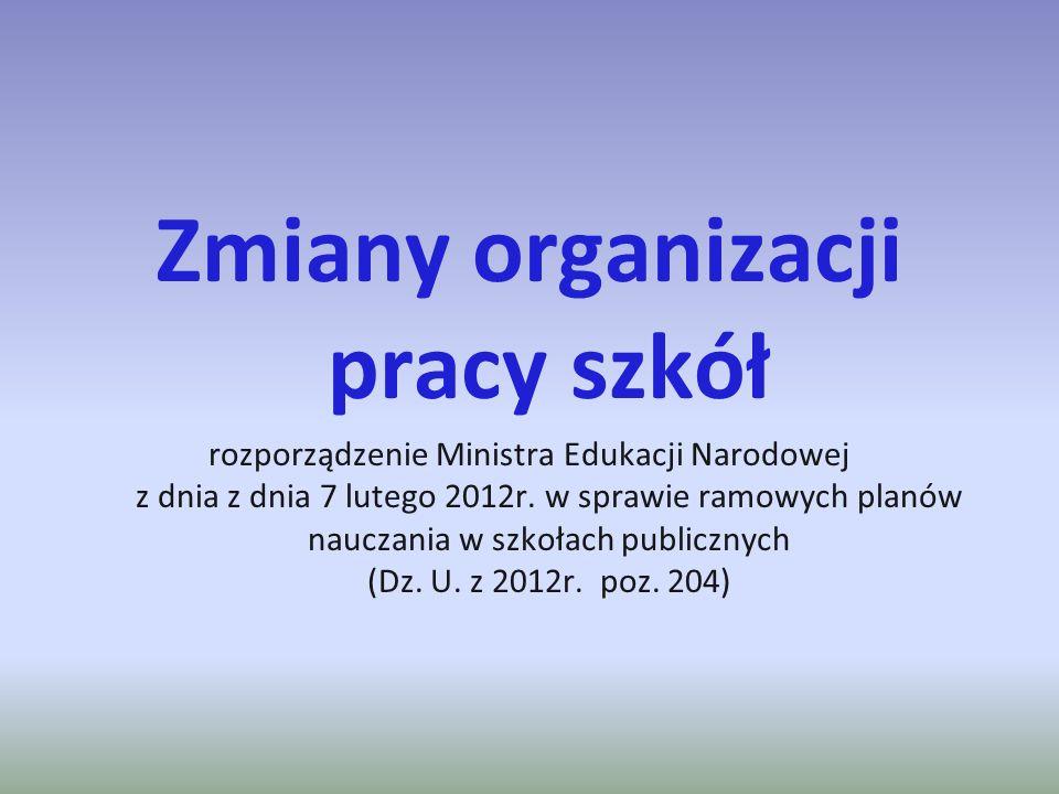 Zmiany organizacji pracy szkół rozporządzenie Ministra Edukacji Narodowej z dnia z dnia 7 lutego 2012r. w sprawie ramowych planów nauczania w szkołach