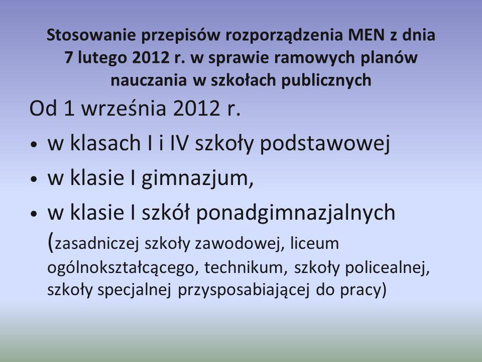 Stosowanie przepisów rozporządzenia MEN z dnia 7 lutego 2012 r. w sprawie ramowych planów nauczania w szkołach publicznych Od 1 września 2012 r. w kla
