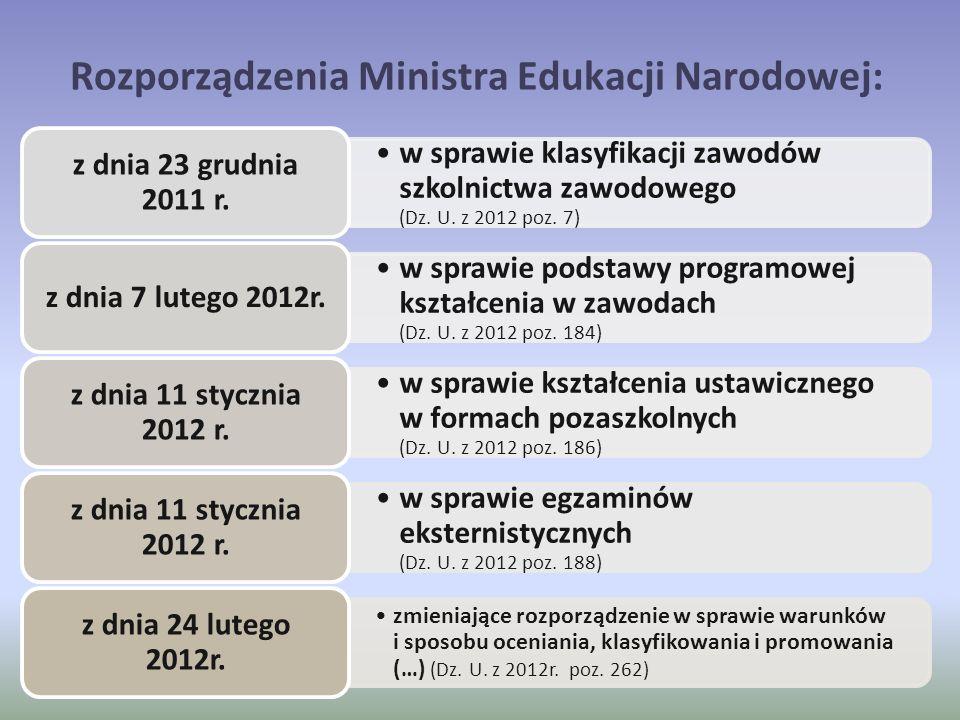 Rozporządzenia Ministra Edukacji Narodowej: w sprawie klasyfikacji zawodów szkolnictwa zawodowego (Dz. U. z 2012 poz. 7) z dnia 23 grudnia 2011 r. w s