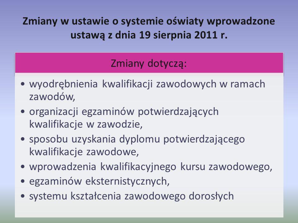 Zmiany w ustawie o systemie oświaty wprowadzone ustawą z dnia 19 sierpnia 2011 r. Zmiany dotyczą: wyodrębnienia kwalifikacji zawodowych w ramach zawod